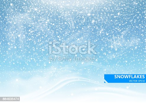 istock Falling snow on a blue background. Snowstorm and snowflakes. Background for winter holidays. Vector Illustration 884635474