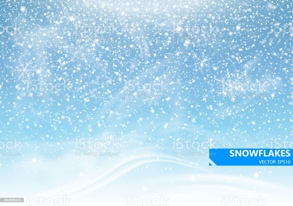 Falling snow on a blue background. Snowstorm and snowflakes. Background for winter holidays. Vector Illustration vector art illustration