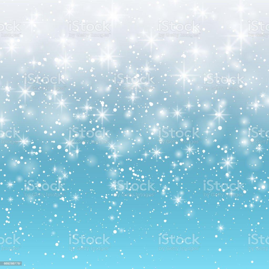 青色の背景に降る雪はベクトル イラスト 10 eps抽象的な白いキラキラ雪