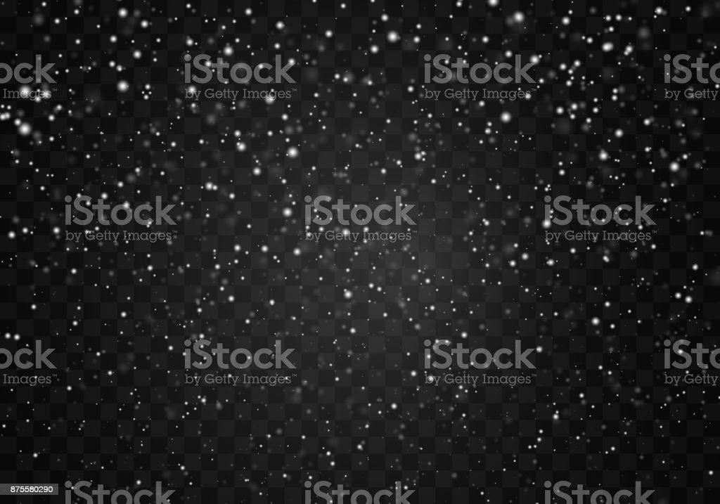 Falling snow on a transparent background. Abstract snowflake background. Fall of snow.