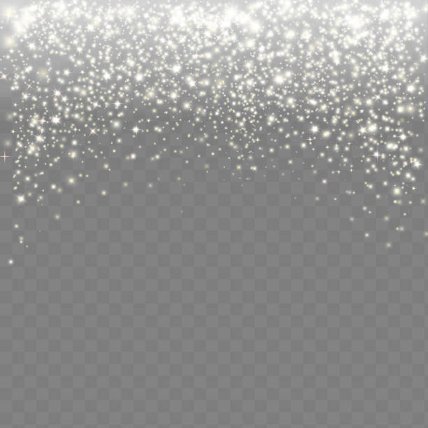 Falling snow on a transparent background. Abstract white glitter snowflake – Vektorgrafik