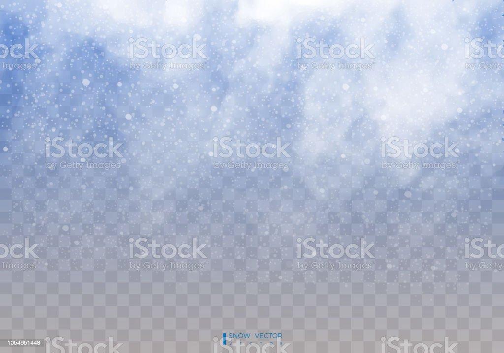Neve che cade su uno sfondo trasparente. Nuvole di neve o sudditi. Nebbia, nevicate. Sfondo astratto fiocco di neve. Caduta di neve. Illustratore vettoriale 10 EPS. - arte vettoriale royalty-free di A forma di stella
