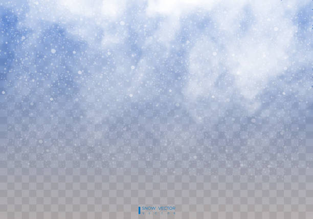 투명 한 바탕에 떨어지는 눈. 눈 구름 또는 낙하산 줄입니다. 안개, 눈입니다. 추상 눈송이 배경. 눈의가. 벡터 일러스트 레이 터 10 년 eps. - 서리 stock illustrations
