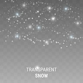 Realistic falling snowflakes isolated on transparent background