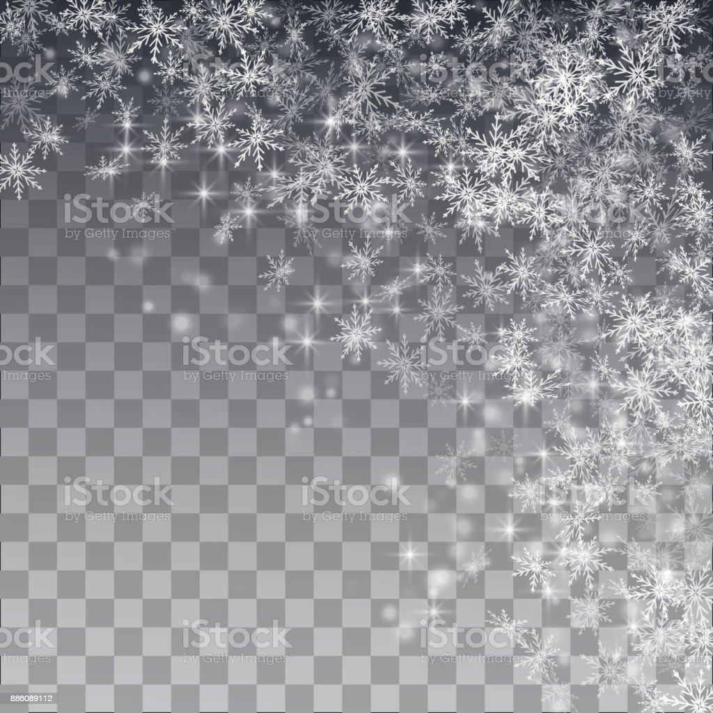 Falling snow on a transparent background. Vector illustration 10 EPS. vector art illustration