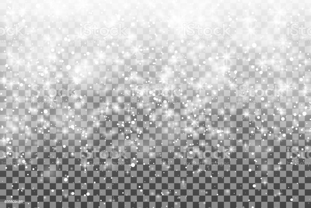 Falling snow over transparent background. glitter snowflake Fall snow. Christmas. - Illustration vectorielle