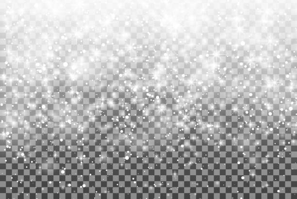 falling snow over transparent background. glitter snowflake fall snow. christmas. - double exposure stock illustrations