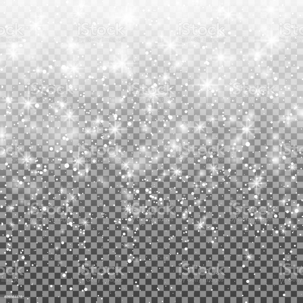 Falling snow over transparent background. glitter snowflake Fall snow. Christmas. vector art illustration
