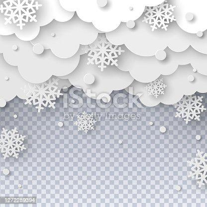 istock Falling snow paper cut 1272289394