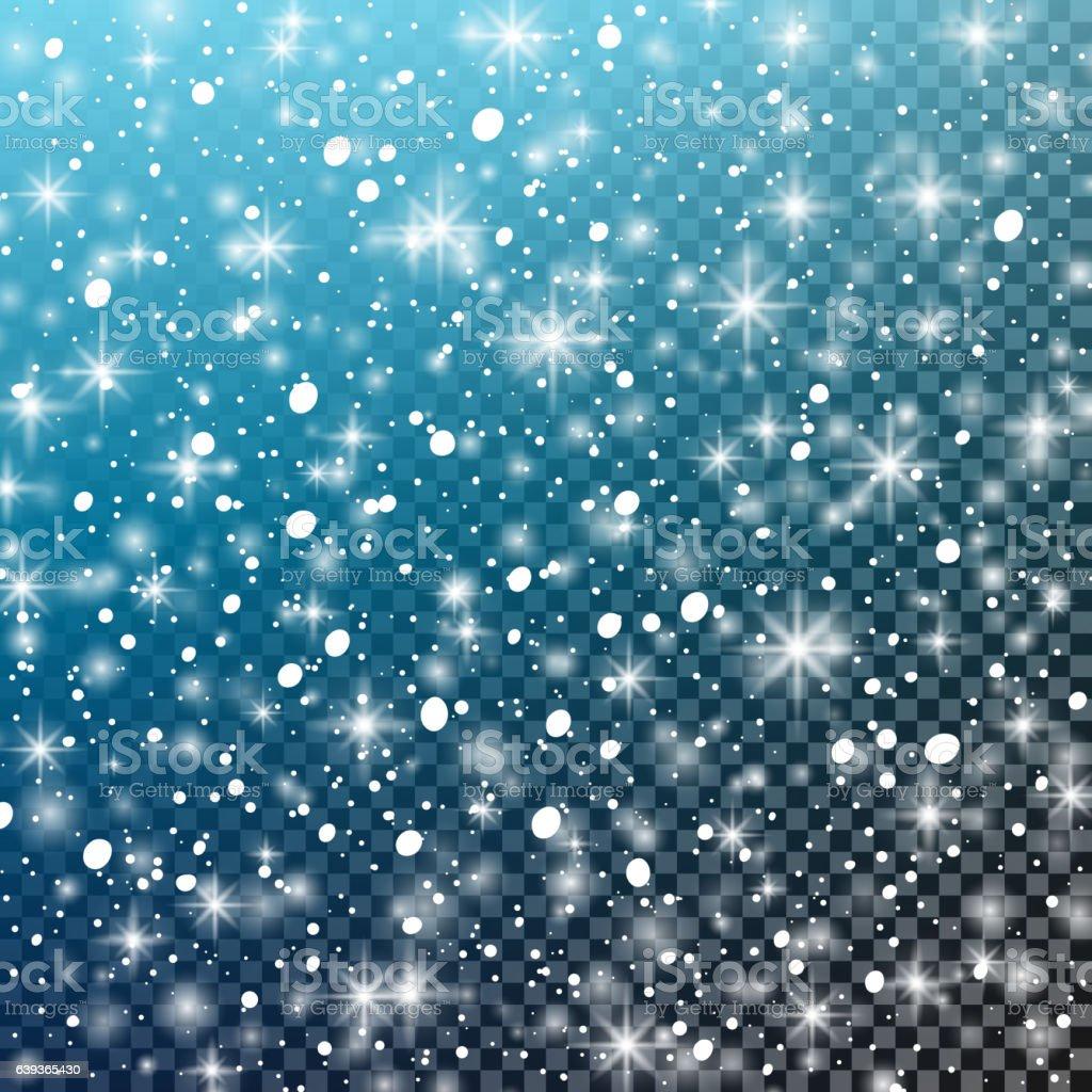 Falling snow. Vector illustration. Abstract white glitter snowflake background. Christmas. - ilustración de arte vectorial
