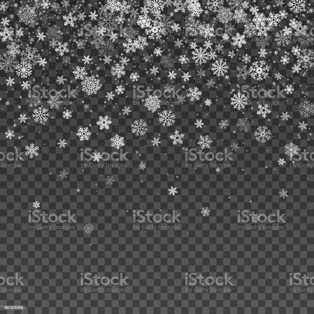 Fallende Schneeflocken Isoliert Vektor Winter Dekoration Tapete ...