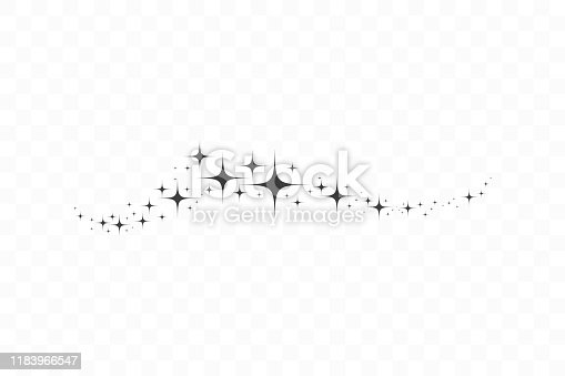 Falling star. Cloud of stars isolated on transparent background. Vector illustration.