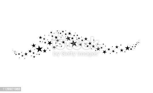 Falling star. Cloud of stars isolated on white background. Vector illustration.