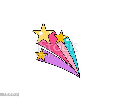 Falling star with tail vector background. Cool comic patch illustration.