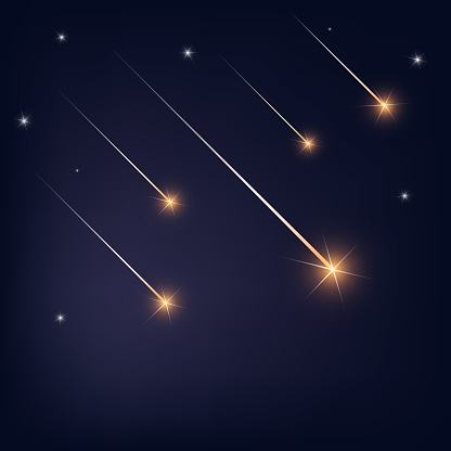 Falling Stars On Dark Blue Black Background Stock Illustration Download Image Now Istock