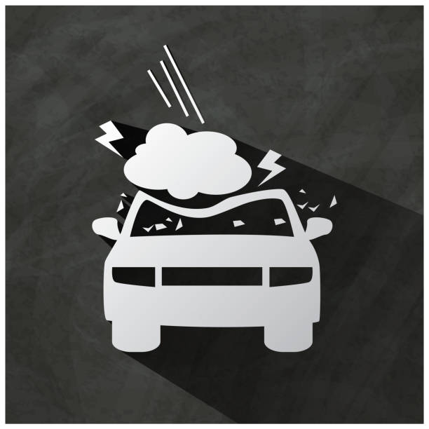 falling stone Black icon with a car accident and insurance. hailstorm stock illustrations