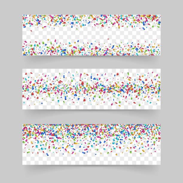falling tiny confetti on transparent background - anniversary patterns stock illustrations