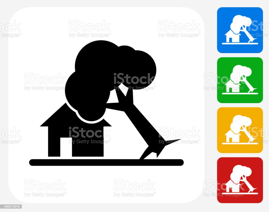 Falling Tree on House Icon Flat Graphic Design vector art illustration
