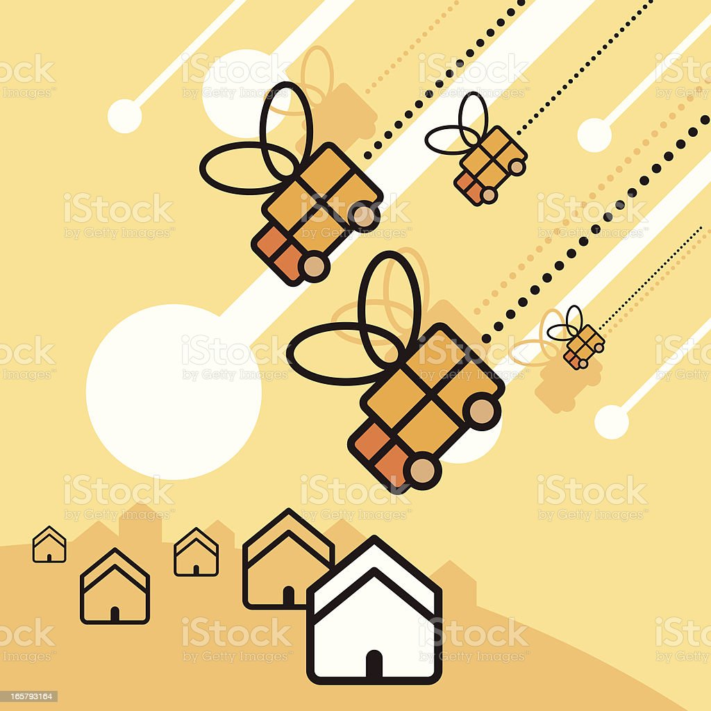 Falling trucks royalty-free stock vector art
