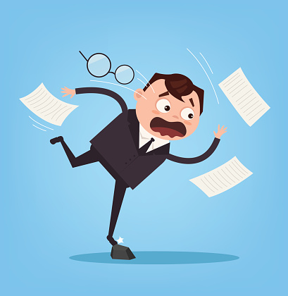 Falling unsuccessful sad office worker business man character. Bad luck