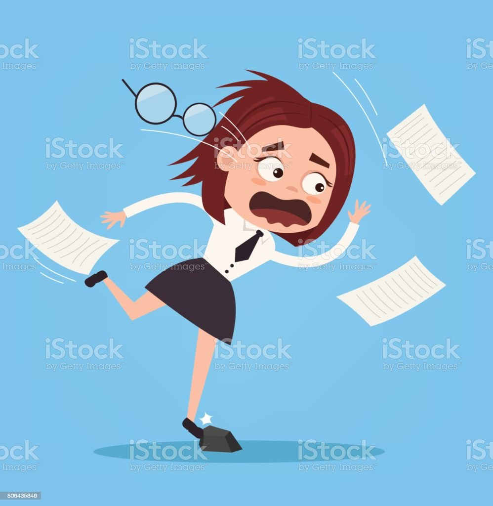 Falling unsuccessful sad office worker business woman character. Bad luck vector art illustration
