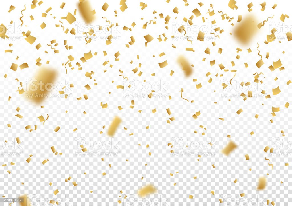 Falling vector confetti on transparent background. vector art illustration
