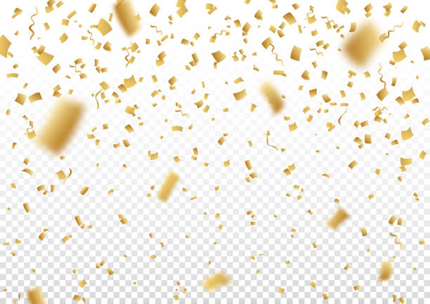 falling vector confetti on transparent background. - confetti stock illustrations
