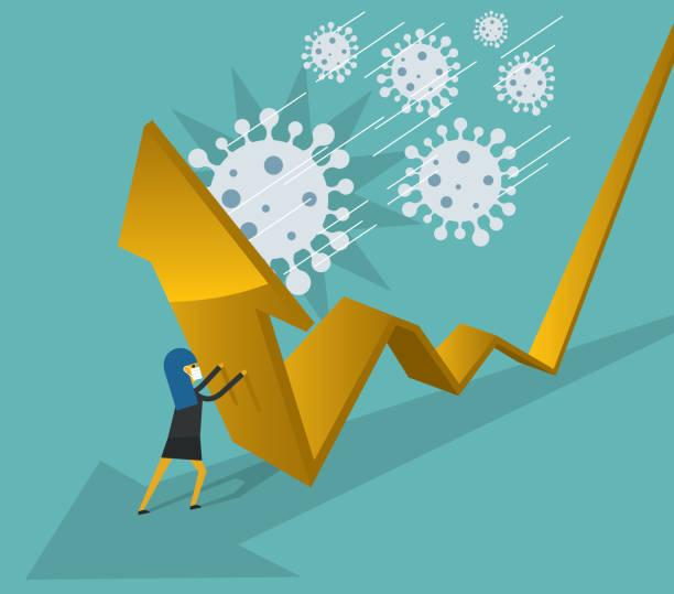 Falling - Viren - Geschäftsfrau – Vektorgrafik