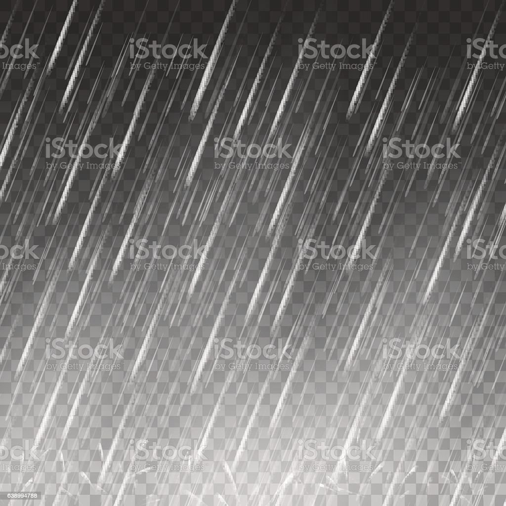 Falling water drops on transparent background vector art illustration