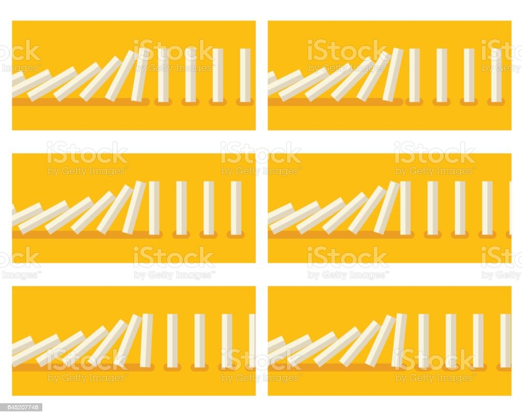 Falling white dominoes animation sprite with yellow background vector art illustration