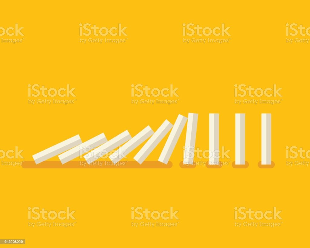 Falling white dominoes on yellow background