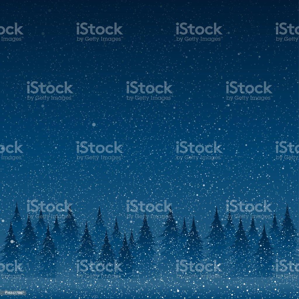 Vallende witte sneeuw met blauwe winter hemel en bos. - Royalty-free Abstract vectorkunst