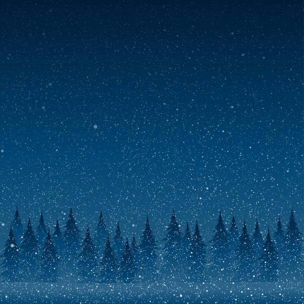 ilustrações, clipart, desenhos animados e ícones de neve branca de queda com o céu e a floresta azuis do inverno. - inverno