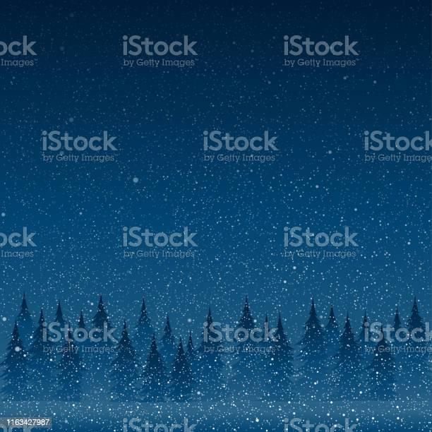 Vallende Witte Sneeuw Met Blauwe Winter Hemel En Bos Stockvectorkunst en meer beelden van Abstract