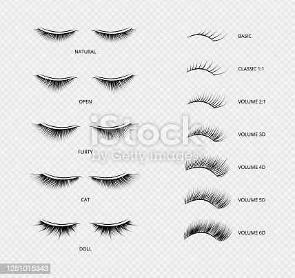 False eyelashes types and kinds poster of vector illustrations isolated on white background. Artificial women lashes shapes and length classification catalog.