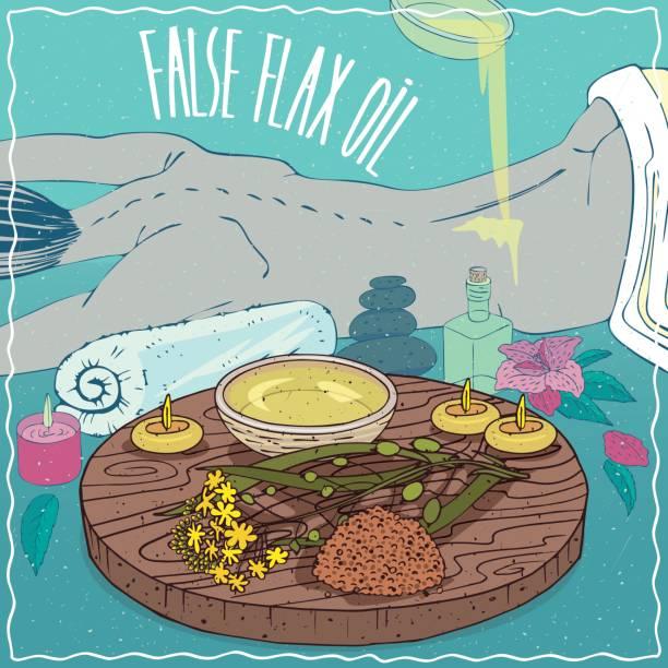 illustrazioni stock, clip art, cartoni animati e icone di tendenza di false flax oil used for body massage - china drug