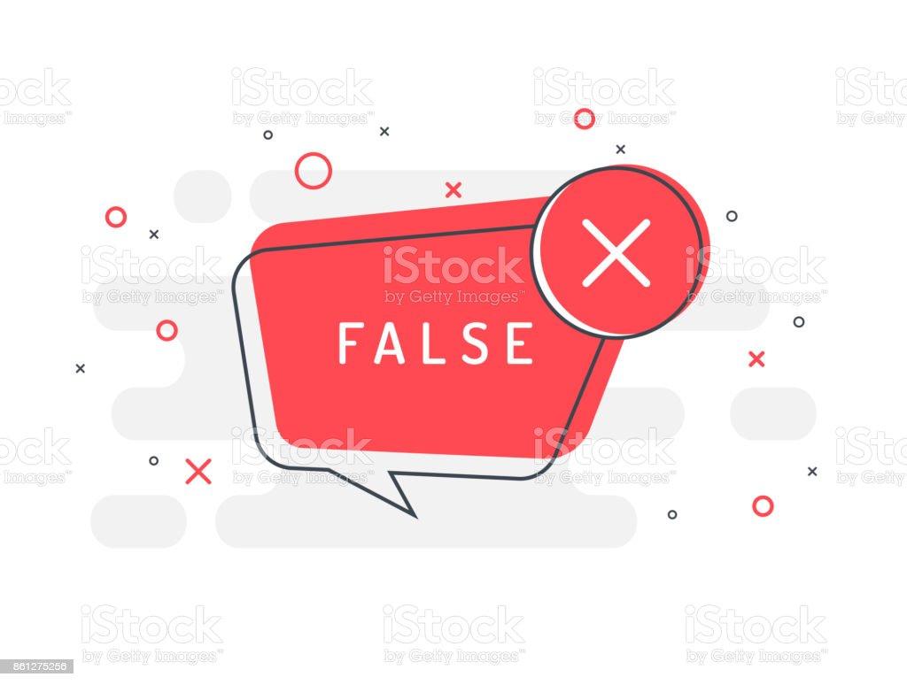 False label. Cross icon. Trendy flat vector bubble. vector art illustration