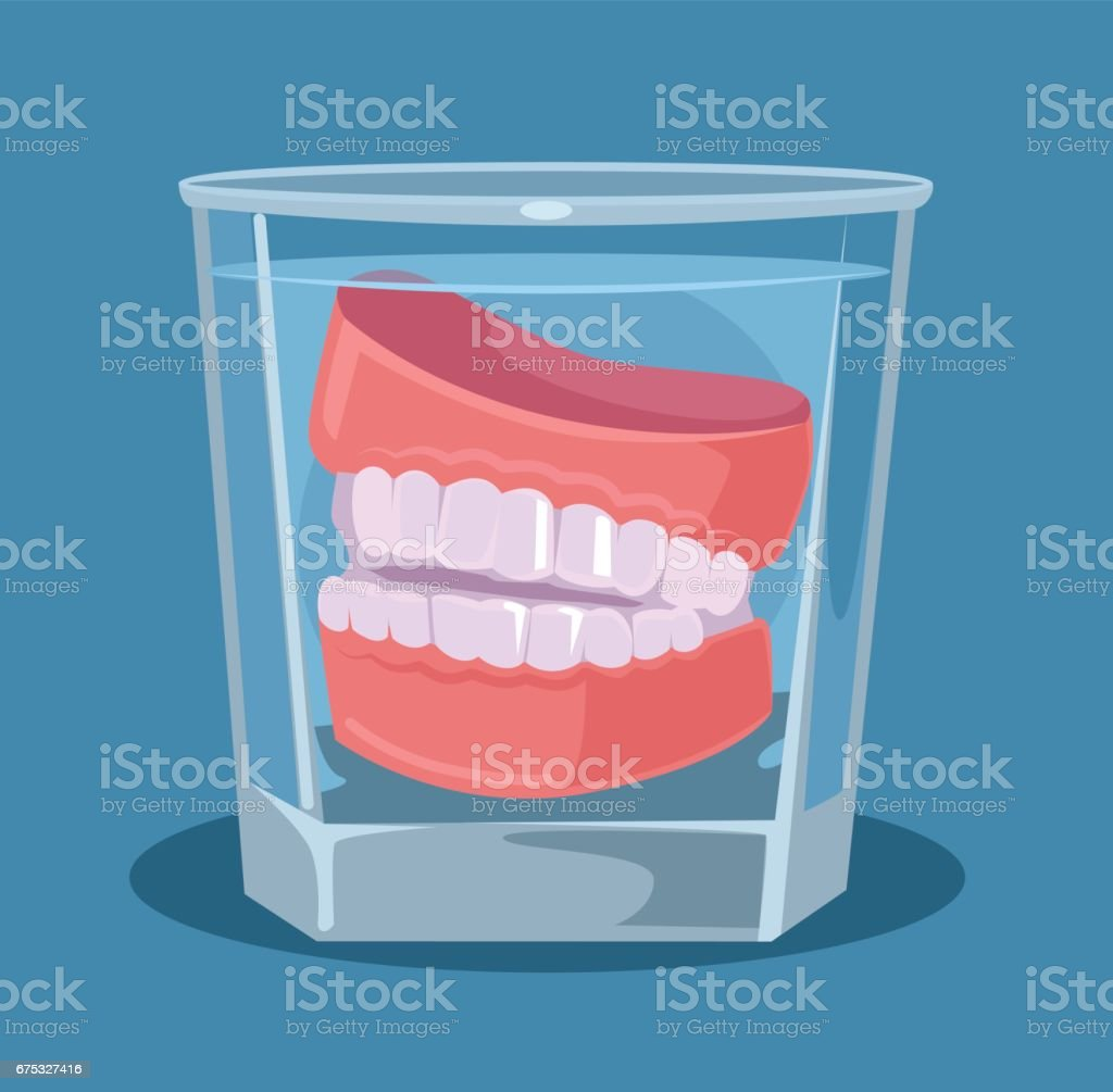 False teeth in glass vector art illustration