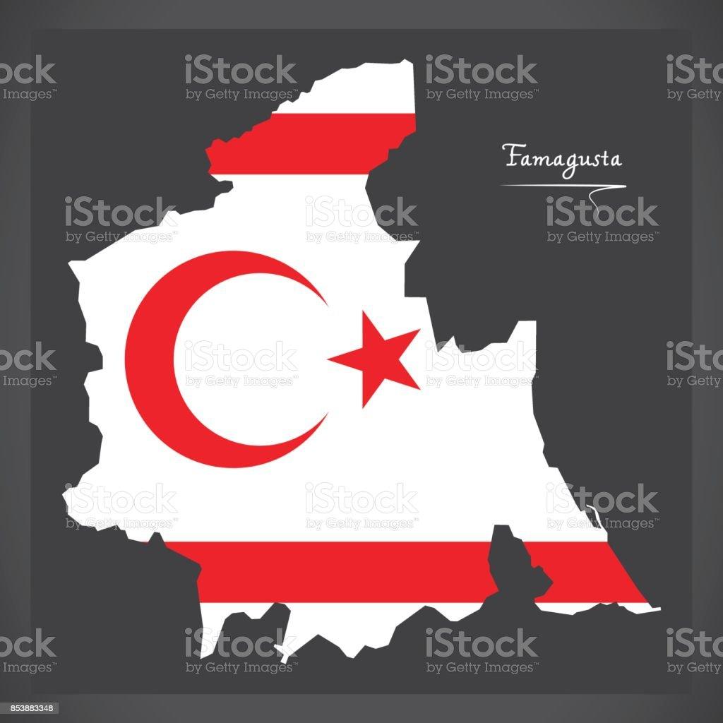 Karta Famagusta Cypern.Famagusta Karta Over Nordcypern Med Flagga Illustration Vektorgrafik