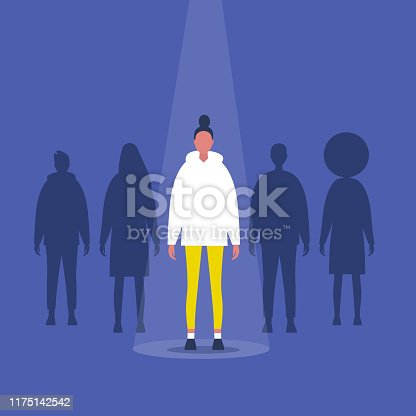 Fame. A female character standing on a stage under the light beam. Outstanding qualities. Skill. Talent. Flat editable vector illustration, clip art