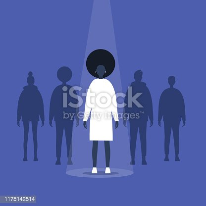 Fame. Black female character standing on a stage under the light beam. Outstanding qualities. Skill. Talent. Flat editable vector illustration, clip art