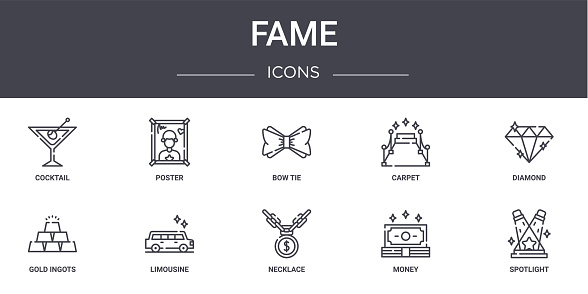 fame concept line icons set. contains icons usable for web, logo, ui/ux such as poster, carpet, gold ingots, necklace, money, spotlight, diamond, bow tie