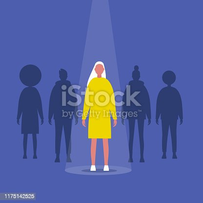 Fame. Female character standing on a stage under the light beam. Outstanding qualities. Skill. Talent. Flat editable vector illustration, clip art