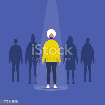 Fame. Indian male character standing on a stage under the light beam. Outstanding qualities. Skill. Talent. Flat editable vector illustration, clip art