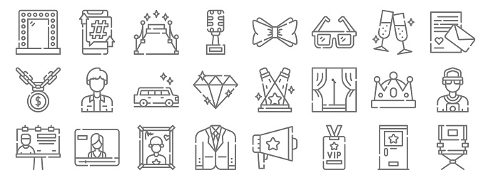 fame line icons. linear set. quality vector line set such as director chair, vip card, suit, billboard, crown, limousine, love letter, bow tie, smartphone
