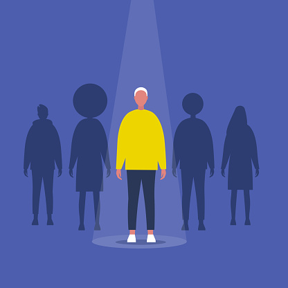 Fame. Male character standing on a stage under the light beam. Outstanding qualities. Skill. Talent. Flat editable vector illustration, clip art