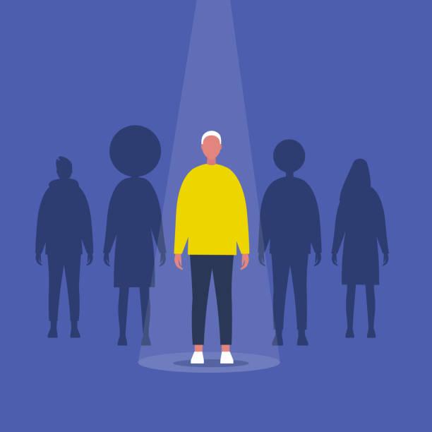 stockillustraties, clipart, cartoons en iconen met fame. mannelijk personage staande op een podium onder de lichtstraal. uitstekende kwaliteiten. behendigheid. talent. platte bewerkbare vector illustratie, clip art - spotlicht belichting