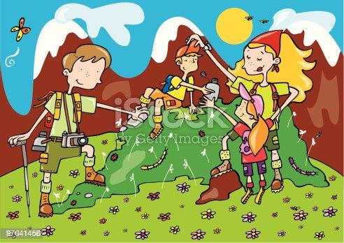 istock Familia de vacaciones en la montaña 97641456