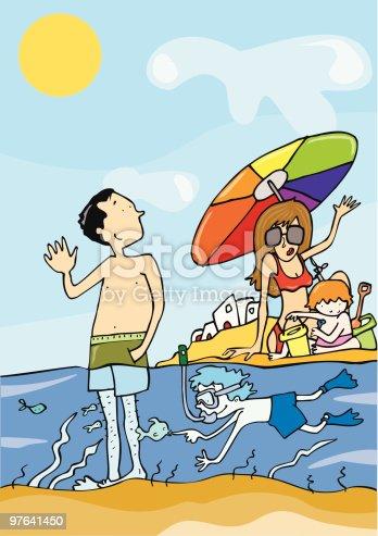 istock Familia de vacaciones en la playa 97641450