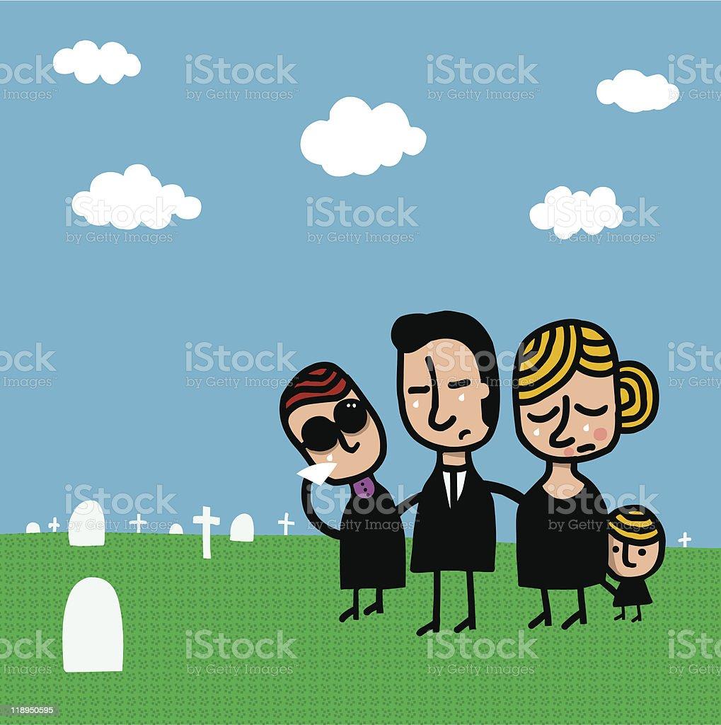 Familia llorando en cementerio royalty-free stock vector art